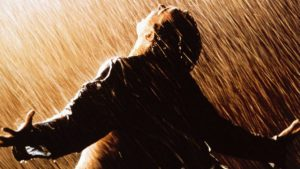 Andy in the rain, from the original movie poster
