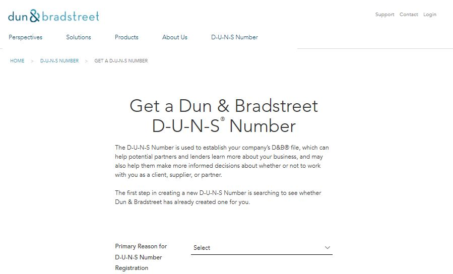 Screenshot of Dun & Bradstreet DUNS number website