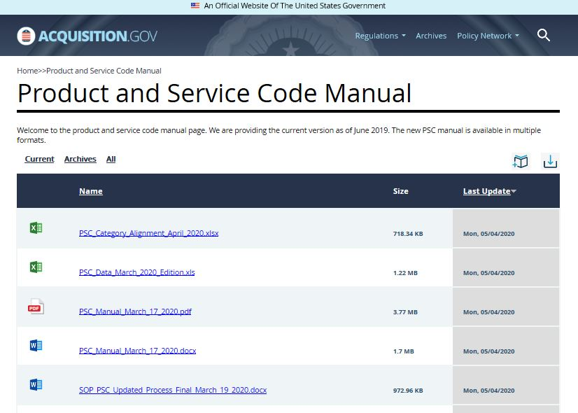 Screenshot of Product and Service Code Manual website
