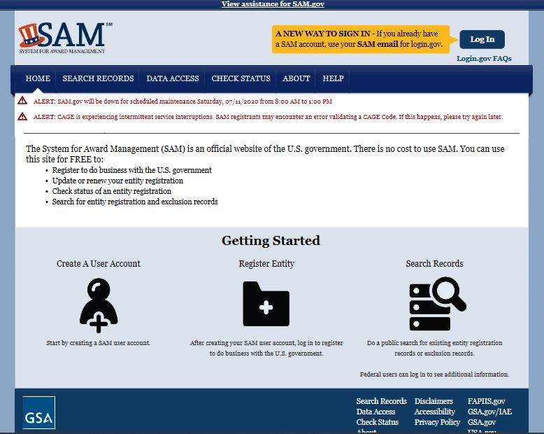 Screenshot of SAM.gov website mainpage